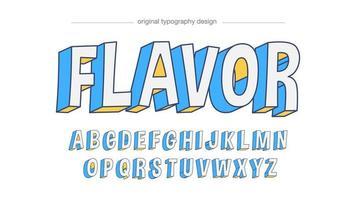tipografia maiúscula azul branca dos desenhos animados vetor