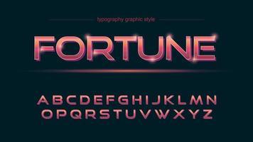 tipografia 3d vermelha metálica brilhante vetor