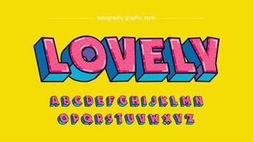 tipografia dos desenhos animados em negrito azul rosa azul vetor