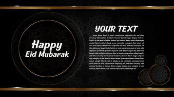 design de eid mubarak com mandalas em círculos dourados