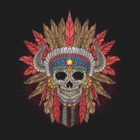 vista frontal da cabeça de caveira apache colorido vetor