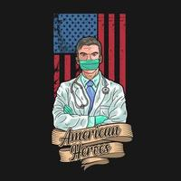 médico mascarado na frente da bandeira americana vetor