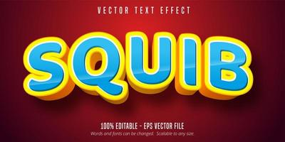 efeito de texto de contorno azul e amarelo de squib vetor