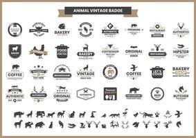 distintivo vintage com rinoceronte e outros animais vetor