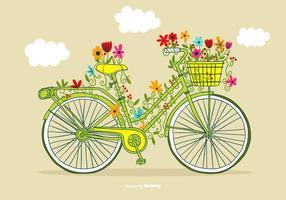 Vetor da bicicleta da flor do vintage
