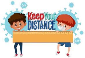 meninos segurando a régua com '' mantenha distância '' vetor