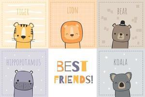 design de cartão de melhores amigos de animais fofos vetor