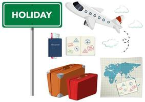 avião, passaportes, viagens de mapa definido em branco vetor