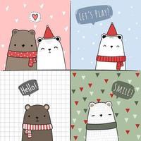 urso bonito dos desenhos animados doodle conjunto de cartão de amigos vetor