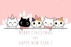 bonito dos desenhos animados família gato doodle papel de parede pastel vetor