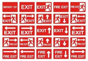 conjunto de símbolo vermelho de saída de emergência vetor