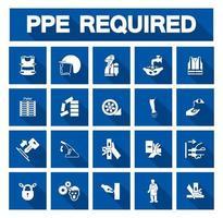 coleção de ícone azul de equipamento de proteção individual necessário vetor