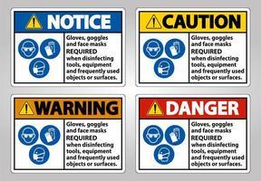 luvas e óculos de segurança necessários sinais vetor