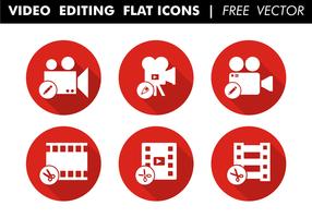 Edição de vídeo ícones planos Vector grátis