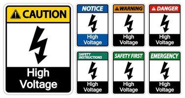 coleção de sinal de alta tensão vetor