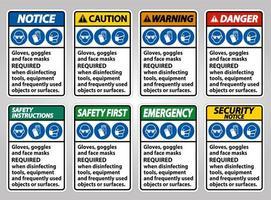 equipamento de proteção necessária coleção de sinais vetor