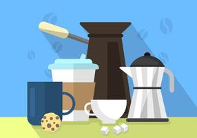 Ilustração plana do café vetor