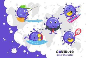 design de personagens de coronavírus vetor