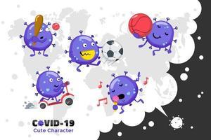 design de conjunto de caracteres de coronavírus vetor