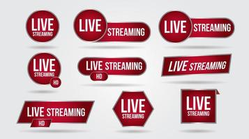 conjunto de ícones de transmissão de vídeo ao vivo vetor