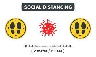 fabricantes de pés com distanciamento social e células vermelhas do vírus vetor