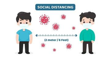 personagens de desenhos animados com células de vírus praticando distanciamento social vetor