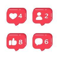 ícones de alerta mostrando seguidores, comentários e curtidas vetor