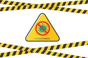 barricada de fita isolante com sinal de aviso de coronavírus vetor