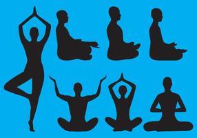 Silhuetas de meditação vetor