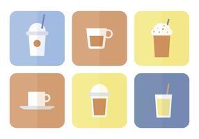 Conjunto de ícones lisos de café vetor