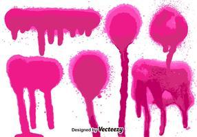 Conjunto de 6 salpicos de tinta de spray rosa vetor