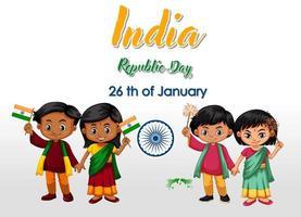 fundo de dia da república da Índia com crianças vetor