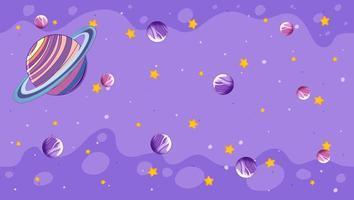 planetas em fundo roxo