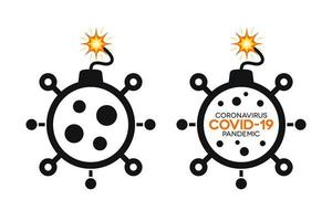 ícones simples da bomba de coronavírus com covid-19 vetor