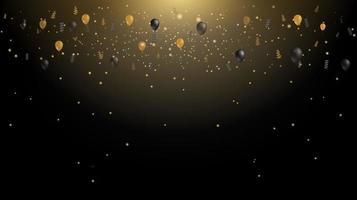 luz de confete dourado caindo sobre fundo preto de luxo vetor