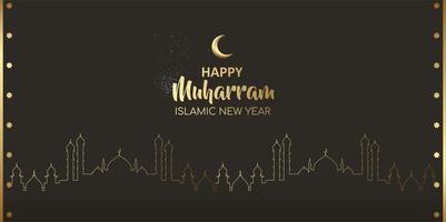 feliz ano novo islâmico muharram cartão noite design vetor
