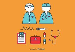 Conjunto de vetores de médicos e enfermeiras
