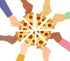 várias mãos tomando fatias de pizza vetor