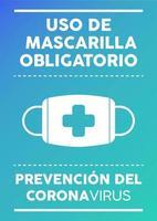uso obrigatório de pôster de máscara escrito em espanhol