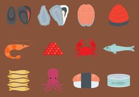 Ícones planos de comida do mar