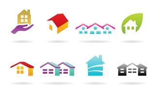 Logos de casas e telhados vetor