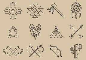 Ícones da linha do nativo americano vetor