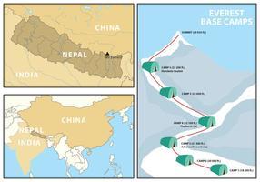 Mapa e Infografia de Everest vetor