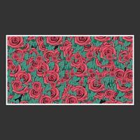 padrão de rosa desenhada de mão