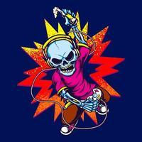 design colorido do esqueleto jogando videogame vetor