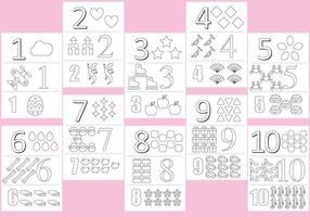 Colorindo números Páginas vetor