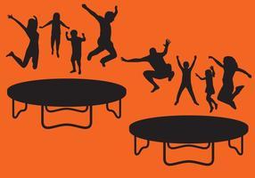 Silhuetas de trampolim