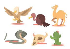 Conjunto de vetores de animais de deserto