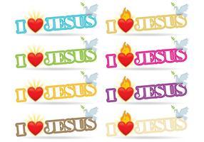 I Love Jesus Sagrado Coração Vetores