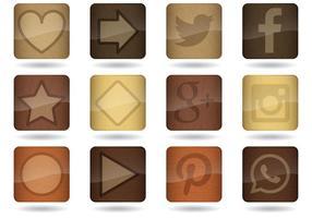 Vetores de ícones de aplicativos de madeira